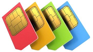 Four simcards in a line